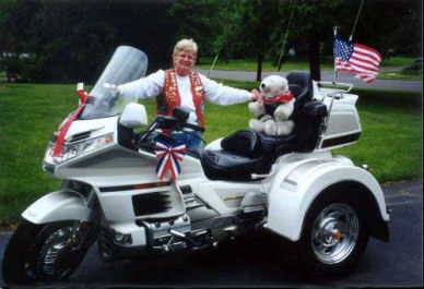 Jane Ann Kern with her 1998 Gold Wing Motor Trike